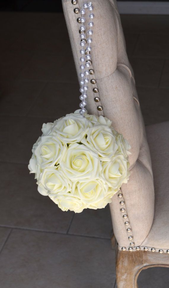IVORY Flower Ball With PEARL Handle. Ivory Kissing Ball. Ivory ...