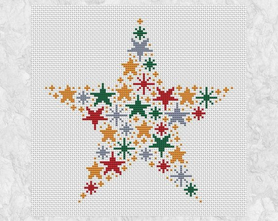 5afcd2714bca Christmas cross stitch pattern of a star made up of smaller stars in  Christmas colours - red