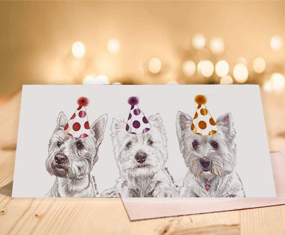 Wild Wild Westies Greeting Card West Highland White Terrier Birthday Card Blank Inside Card From The D Westies Birthday Cards West Highland White Terrier
