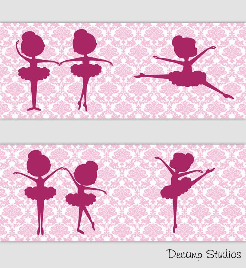 Pink Ballerina Damask Wallpaper Border Wall Art Decal Baby