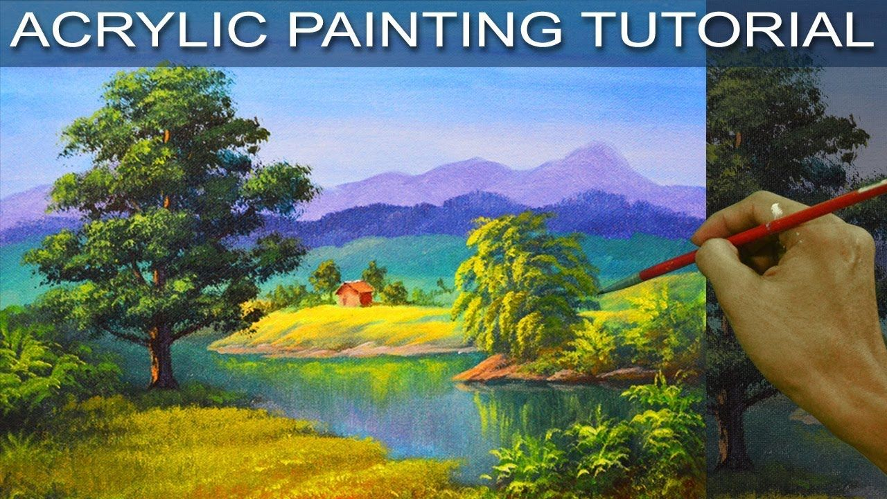 The big oak tree beside the river in step by step easy for Step by step acrylic painting tutorial