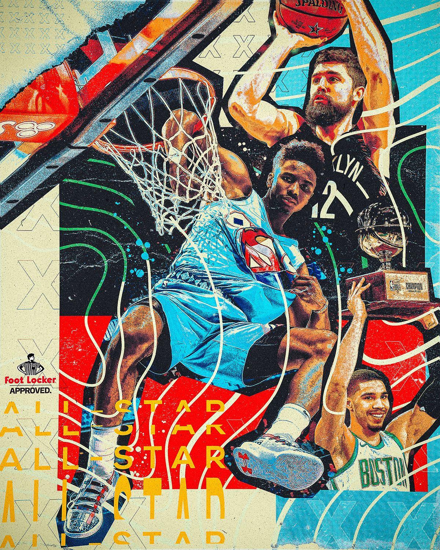 Foot Locker 2019 Nba All Star Illustrations On Behance Sports Graphics Nba Wallpapers Basketball Wallpaper