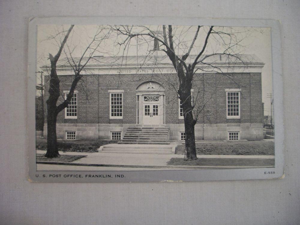 Vintage Postcard Of The U S Post Office In Franklin Indiana 1950 Vintage Postcard Indiana Franklin Indiana