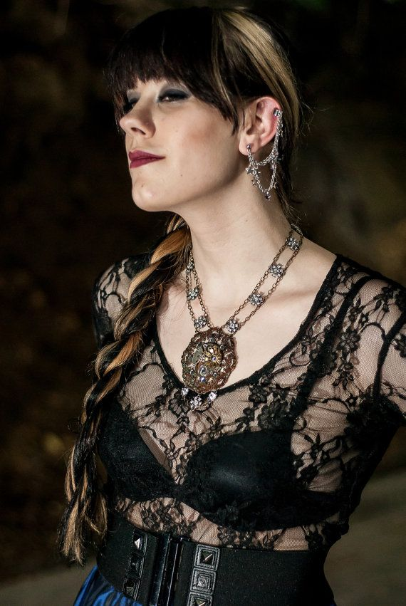 f2021a2843fa1 Goth Shirt Sheer Lace Top - Gothic Clothing - Witchy Shirt Ravewear ...