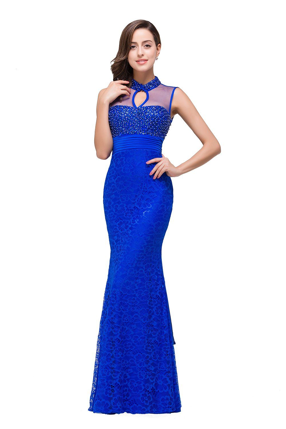 Sheath empire waist blue lace prom party dresses long for girls