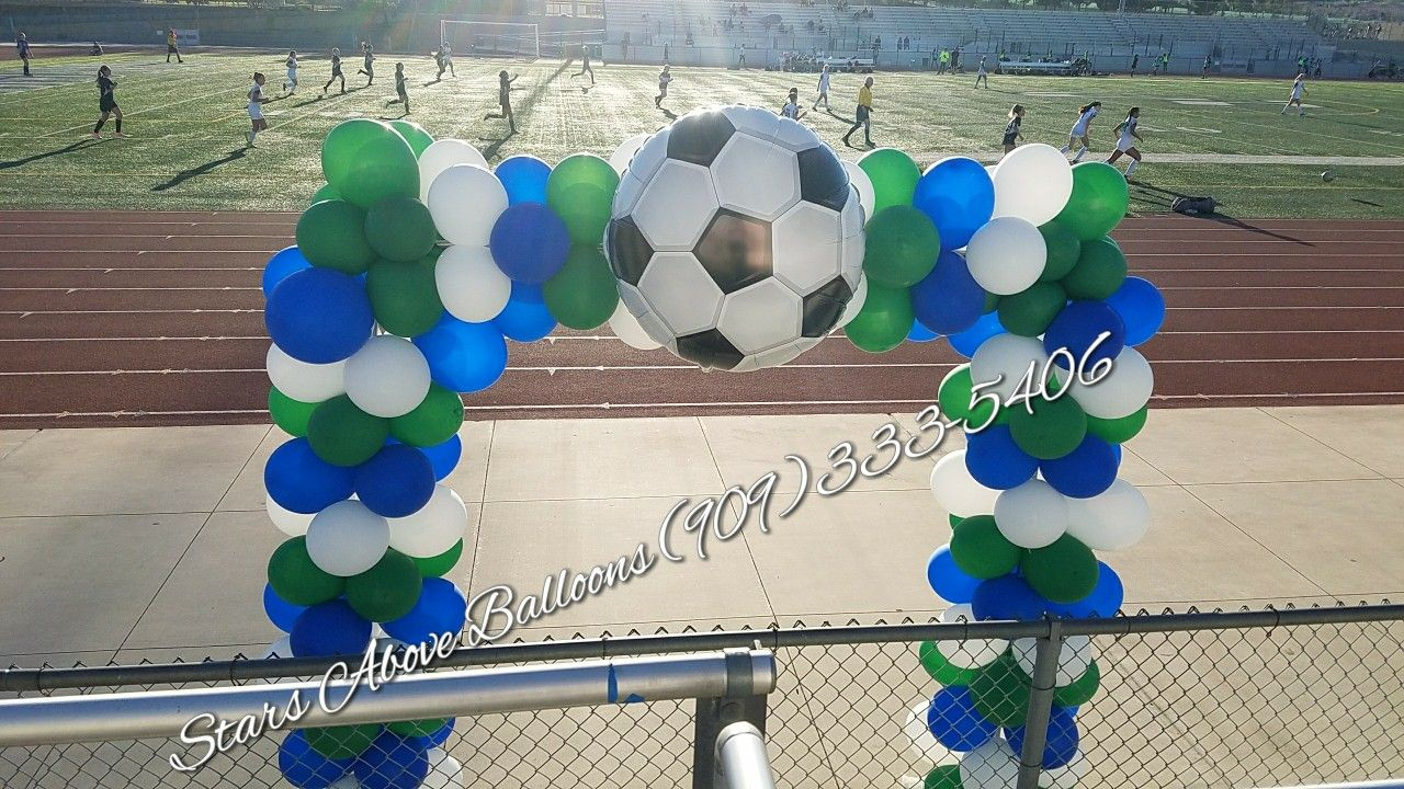 Square soccer arch balloons cake pops inspiration