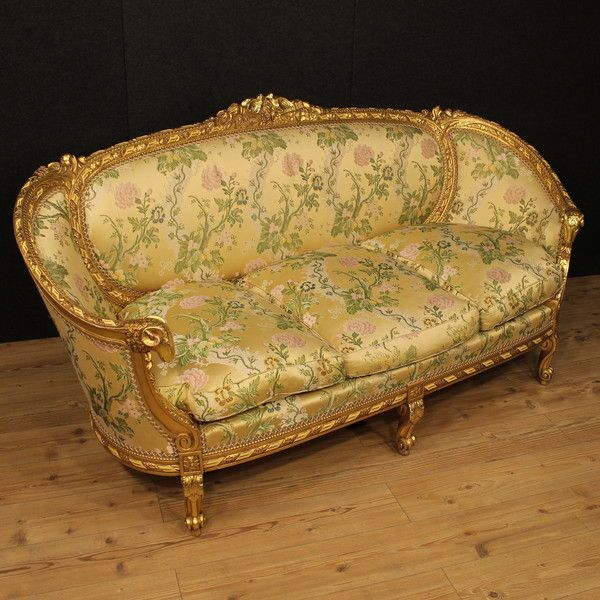 OnlineGalleries.com   Golden Sofa With Floral Fabric