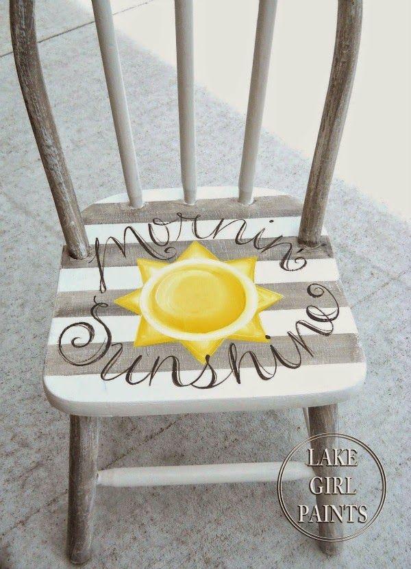 "Painted striped chair ""mornin sunshine"""