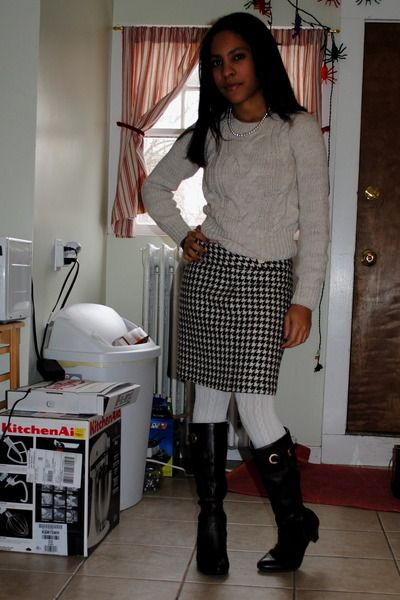 ebae600c551be dark brown Target boots - off white cable knit H&M sweater - ivory Target  tights