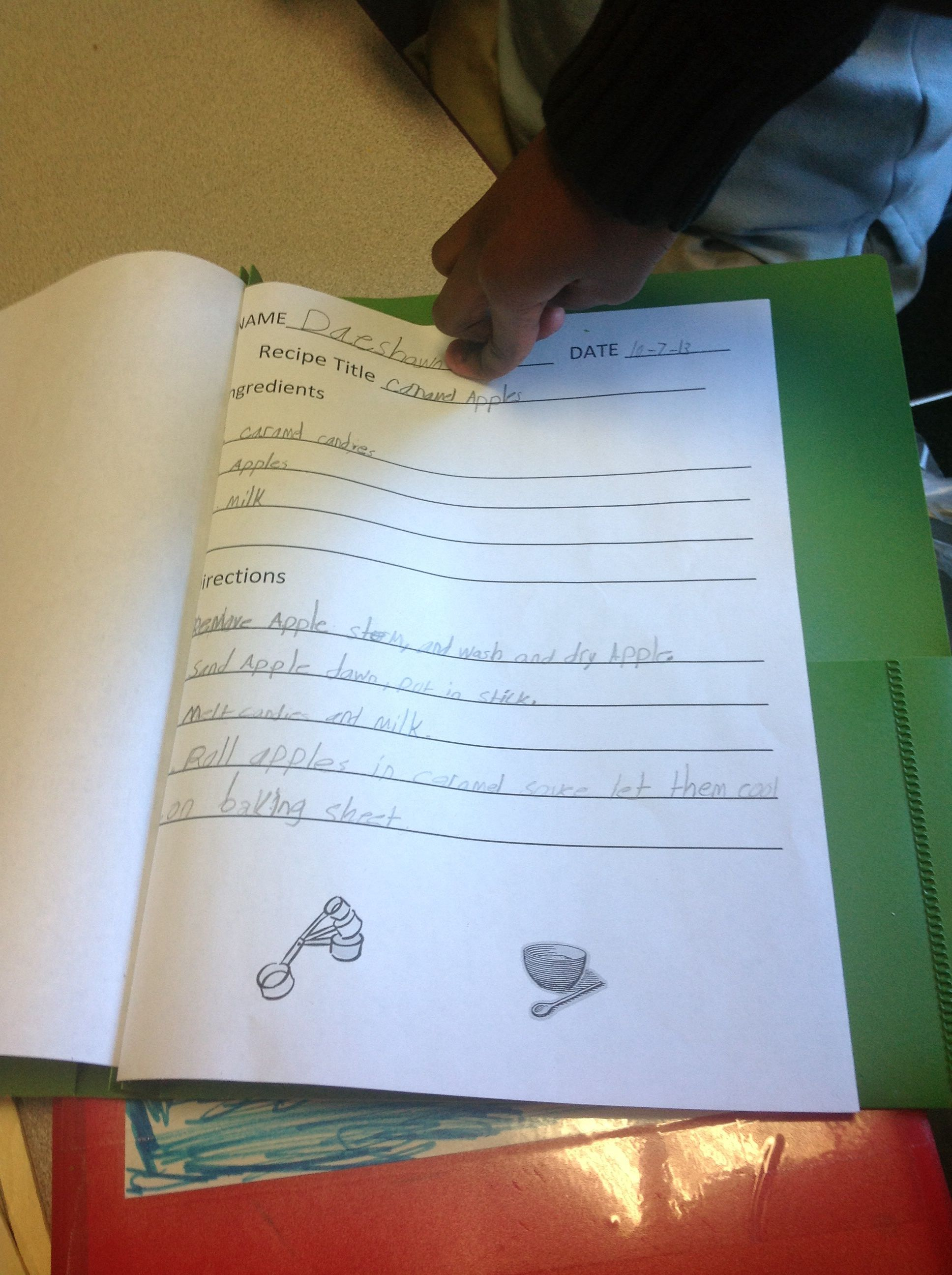 Recipe Worksheet For Handwriting Sequencing And