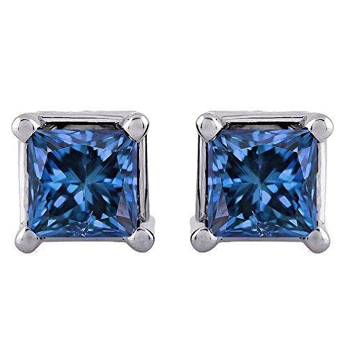 Blue Princess Cut Diamond Earring Studs in Gold