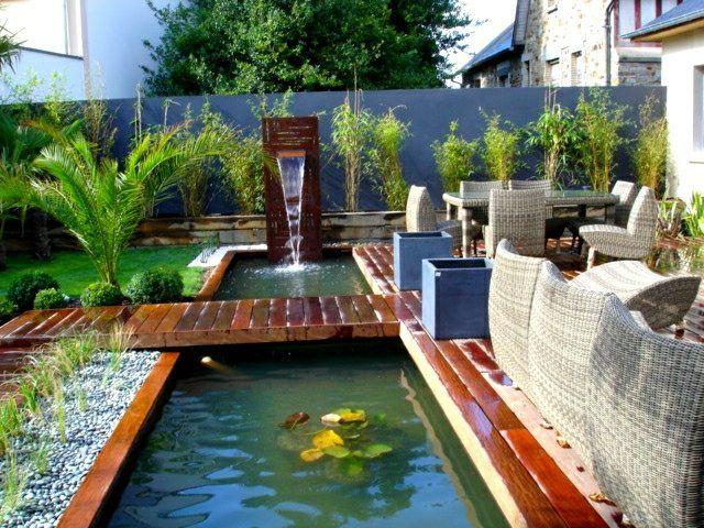 Bassin du0027eau dans le jardin  85 idées pour su0027inspirer Pond, Fish - terrasse bois avec bassin
