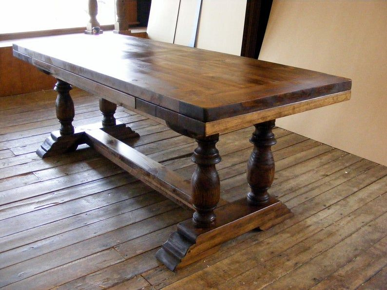 Draw Leaf Extension Dining Table Dark Pine Finish With 2 Inch