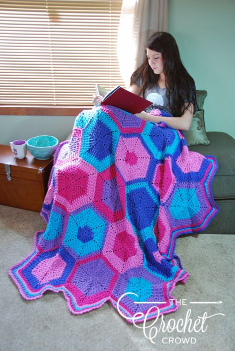Crochet Happy Hexagon Afghan By Jeanne Steinhilber Crochet