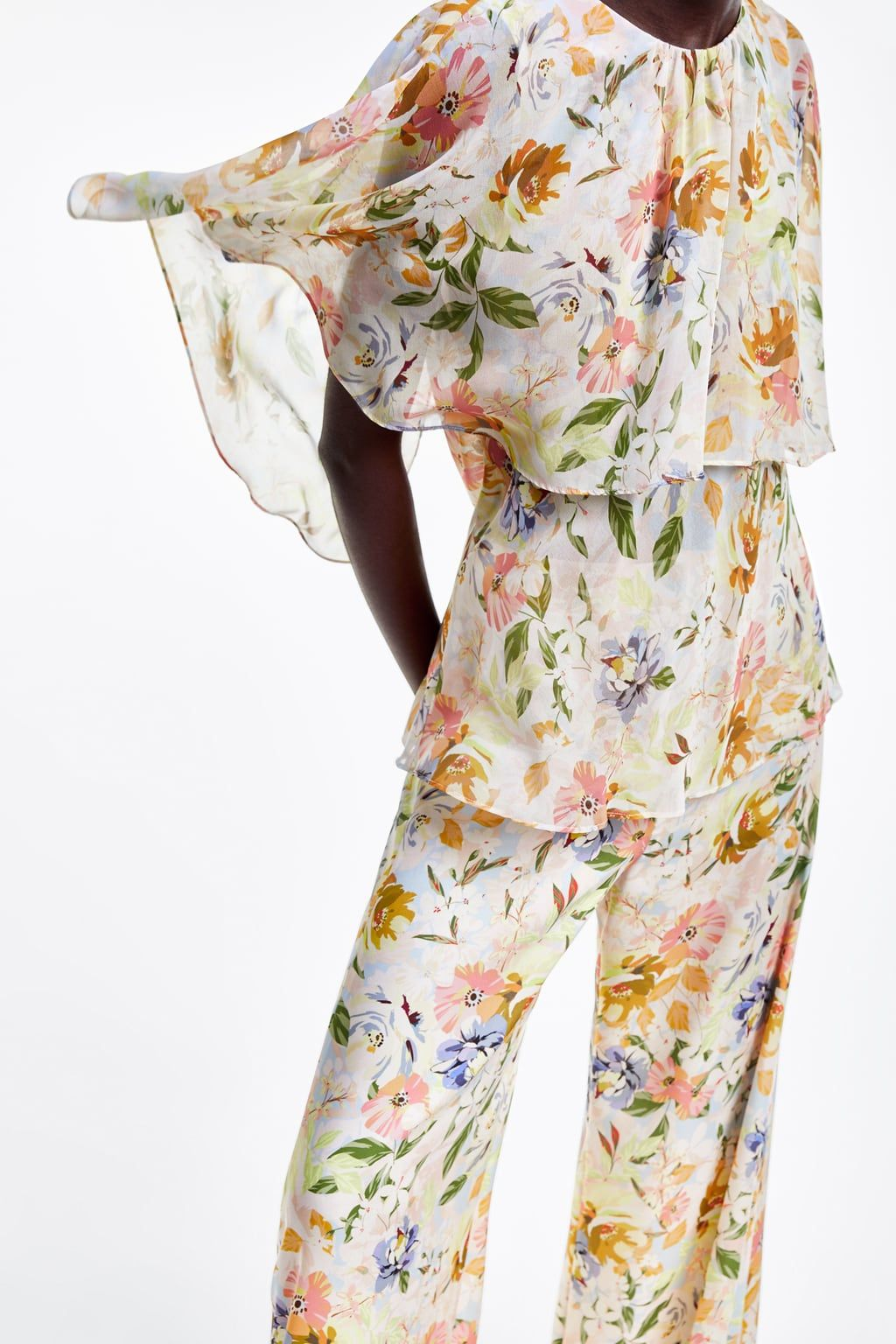 Photo of FLORAL PRINT PALAZZO TROUSERS