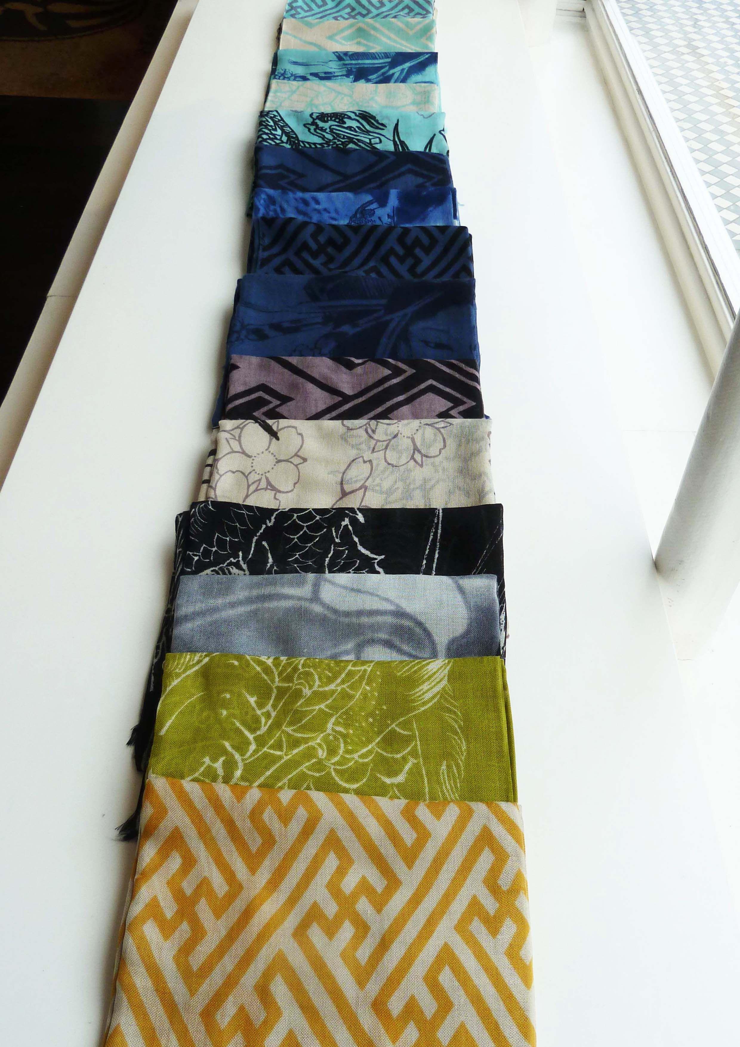 Spring Summer 12 scarves in aqua, avocado, denim, almond and black