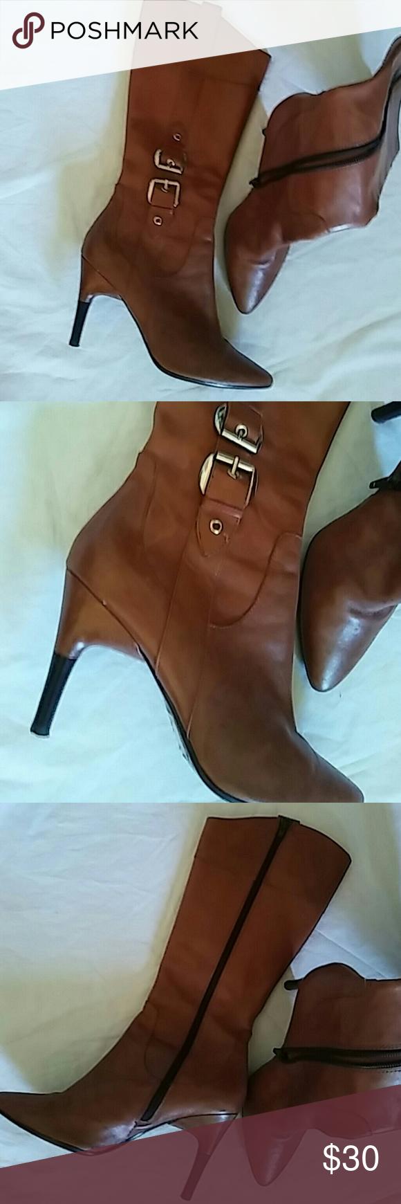Via Spiga Boots Sz 8M Leather Upper..Preowned Via Spiga Shoes Winter & Rain Boots