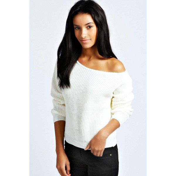 4d4a07e3ce79b Boohoo Natalie Slash Neck Crop Fisherman Jumper ($20) ❤ liked on Polyvore  featuring tops, sweaters, cream, off the shoulder crop top, cropped sweater,  ...