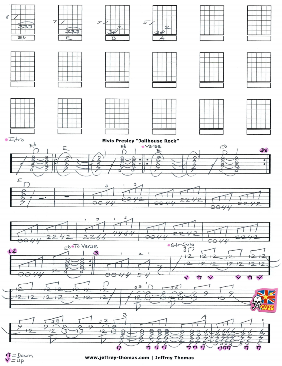 Elvis Presley Jailhouse Rock Free Guitar Tab by Jeffrey