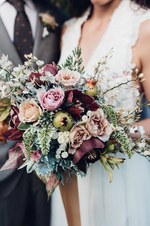 winter wedding flowers seeded eucalyptus cymbidium orchids and