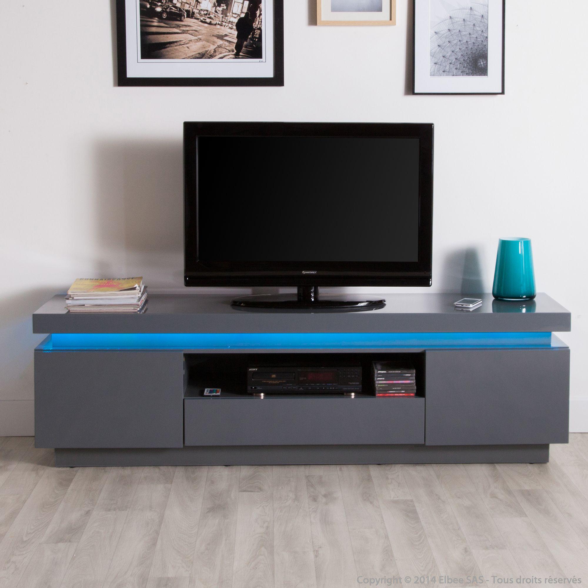 Meuble TV 2 portes 1 tiroir 1 niche avec leds en bois ...