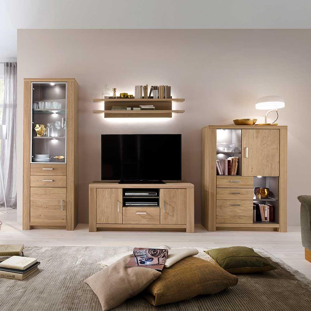Faszinierend Wohnzimmer Schrankwand Dekoration Von Aus Eiche Bianco Geölt Led Beleuchtung (4-teilig)