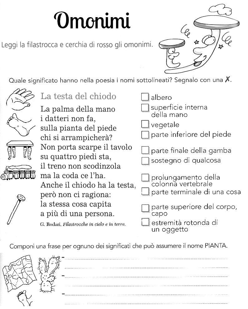 Omonimi Schede It School Montessori Word Search