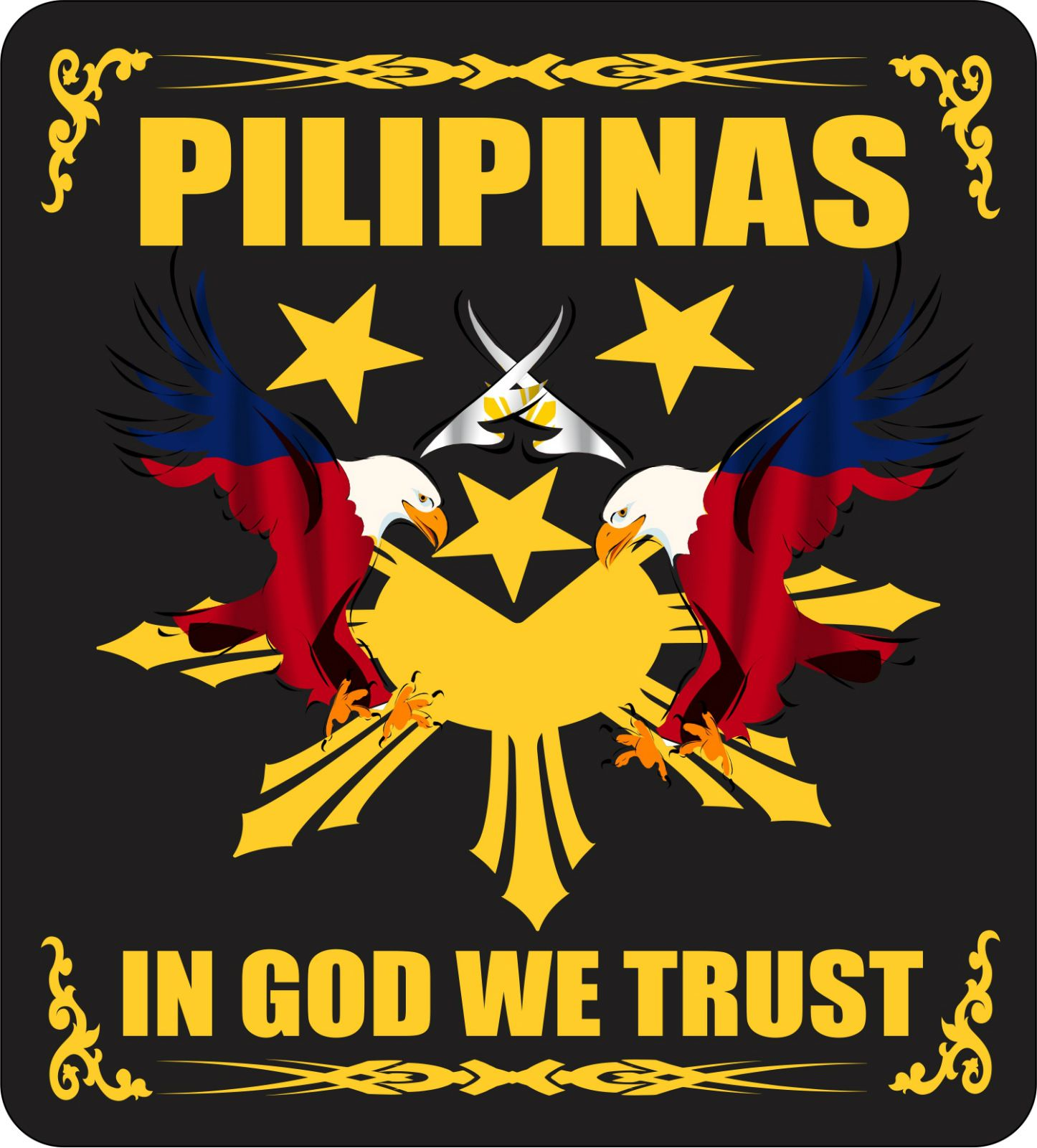 Pilipinas In God We Trust Filipino Promotional Products Filipino Tattoos Philippine Flag In God We Trust [ 1600 x 1446 Pixel ]