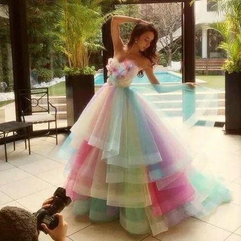 cute, dance, dress, girl, gown, hair, pastel, perfect, pretty, rainbow, ​beautiful