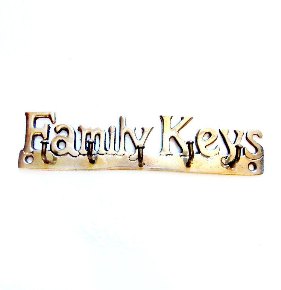 Brass Key Hooks, Family Keys Wall Hanging