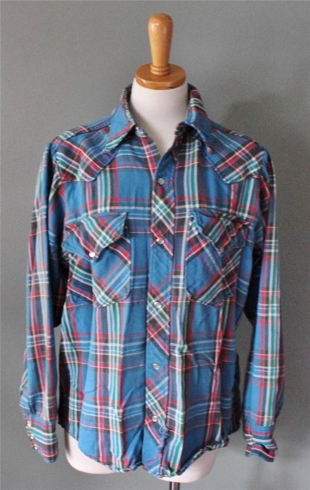 Vtg 70s Woolrich flannel Shirt Men M western Cowboy snap Outdoors blue plaid F01 #Woolrich #ButtonFront