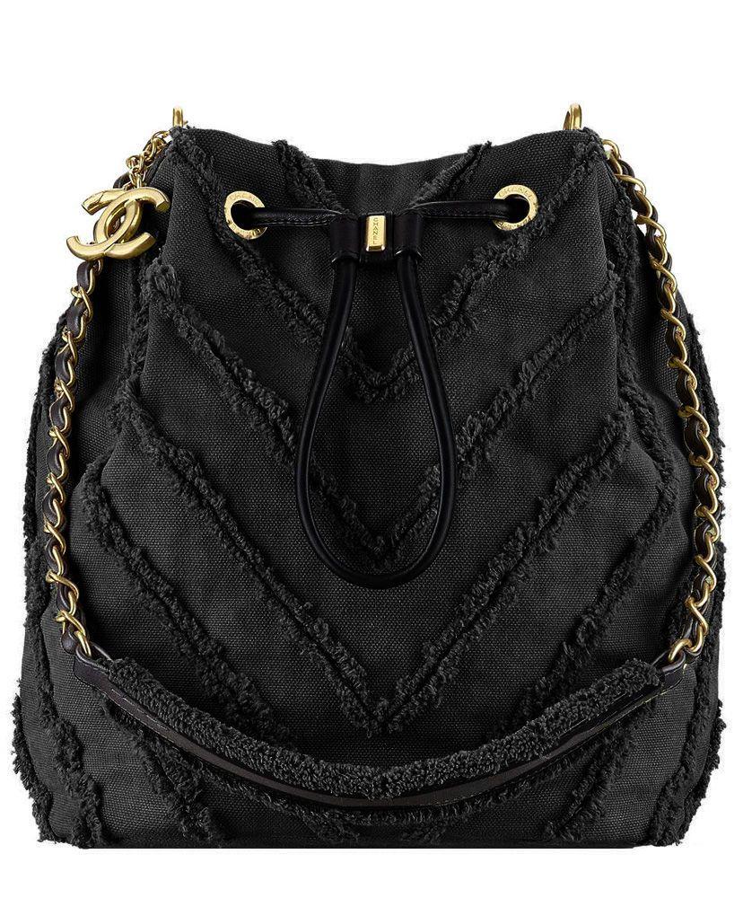 34523d892bda Chanel Canvas Patchwork Chevron Drawstring Bag A93727