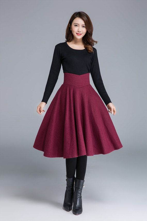 bf2d27198c Wine red skirt