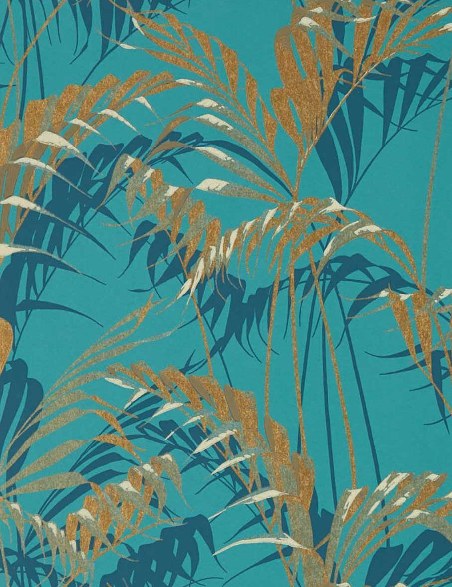 Palm House Teal Gold Wallpaper By Sanderson Teal And Gold Wallpaper Gold Wallpaper Palm Leaf Wallpaper