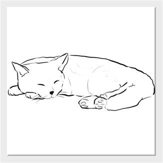 Uyuyan Kedi Kendin Tasarla Kanvas Tablo 25x25cm Kare Tablolar