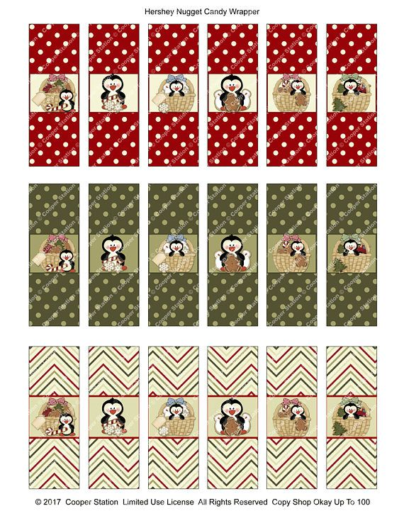 Digital Printable Holiday Hershey Nugget Candy Wrappers Printable