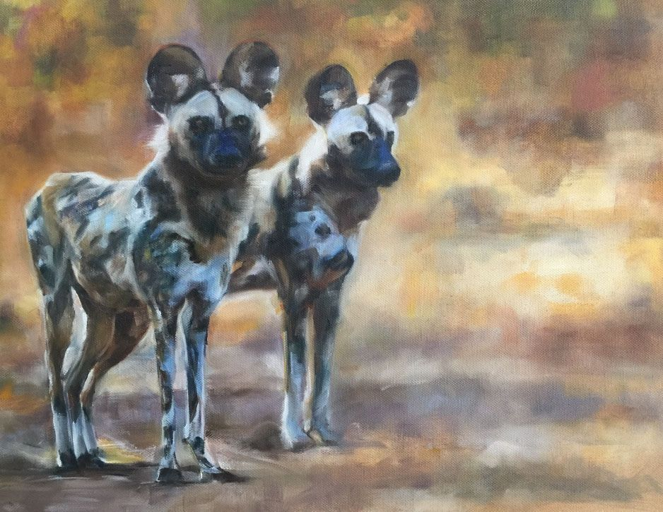 'Wild Dogs', oil on canvas painting, by artist Trish Ann Mitchell