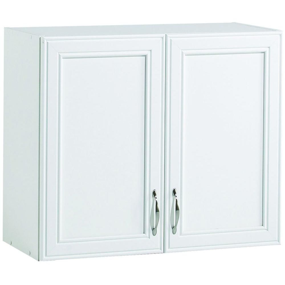 W 2 Shelf Laminate Wall Cabinet In White St102944a The Home Depot