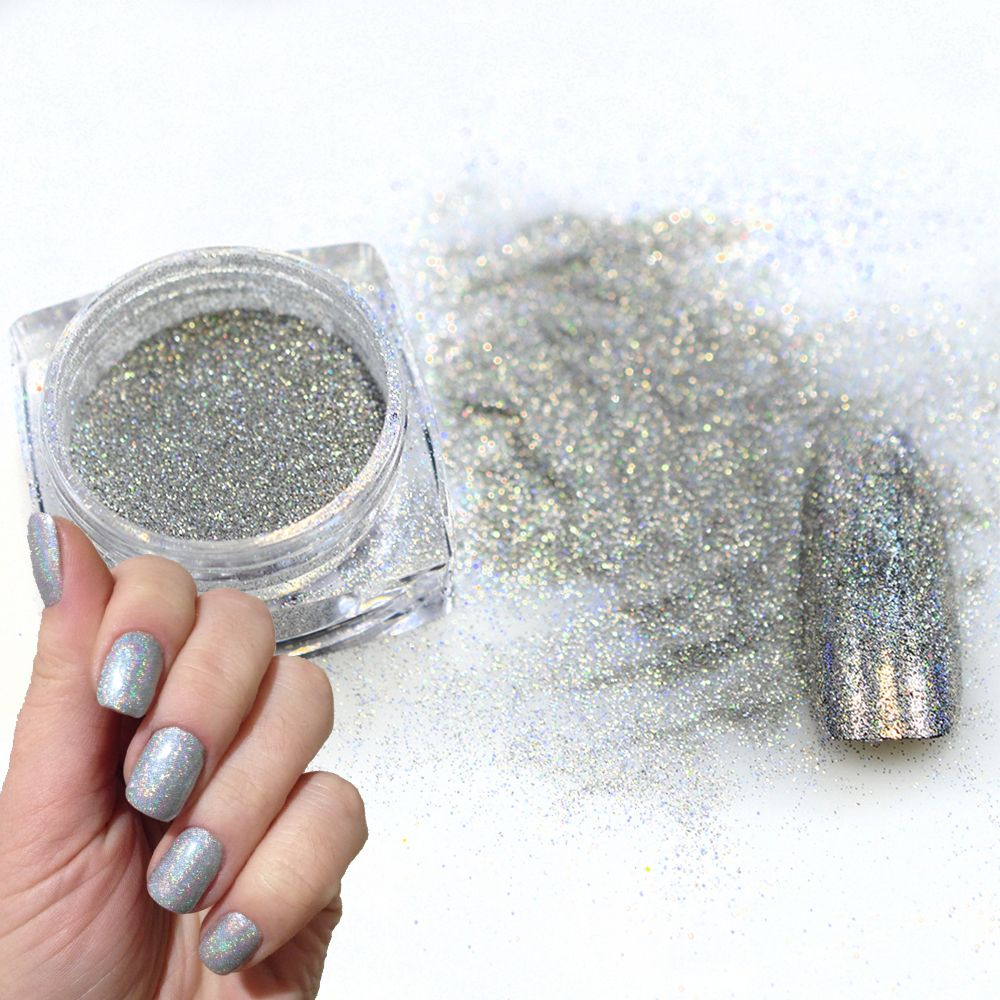 1g/flasche Holographische Nagel Glitter Pulver Nail art Shinny ...