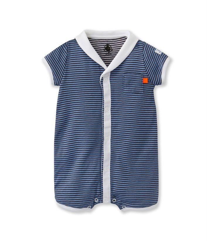 0339f78d1d1fc Combicourt bébé garçon en tubique rayé milleraies noir Crown   bleu Wonder. Retrouvez  notre gamme de vêtements et sous-vêtements pour bébé
