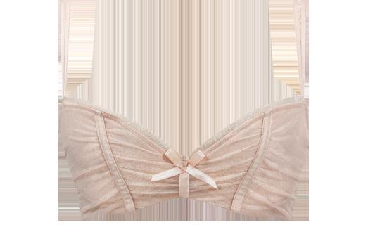Ce soutien-gorge rembourré rose en maille offre un décolleté pigeonnant et rebondi grâce à sa coupe dégagée et sa doublure en mousse. Ses coussinets amovibles permettent d'accentuer l'effet de volume. On aime cette lingerie raffinée et glamour avec ses détails de plissés et ses volants ainsi que son imprimé paillette.