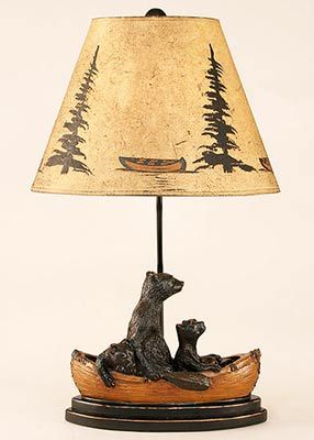 Bear Family Table Lamp With Canoe Shade U2013 Features An Adorable Black Bear  Family As They · Rustic CabinsLog ...