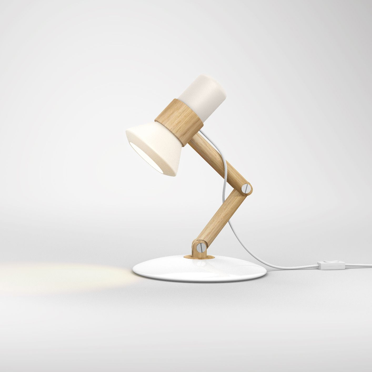 Flash-Lamp [school work] Design of a table lamp | inspired by hand holding a flashlight | porcelain + wood