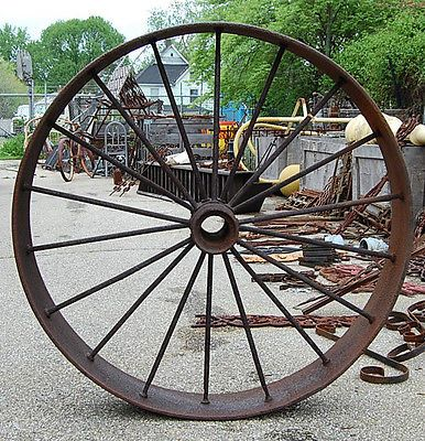 Large Antique Iron Industrial Wagon Wheels Vintage Rustic Garden Decoration