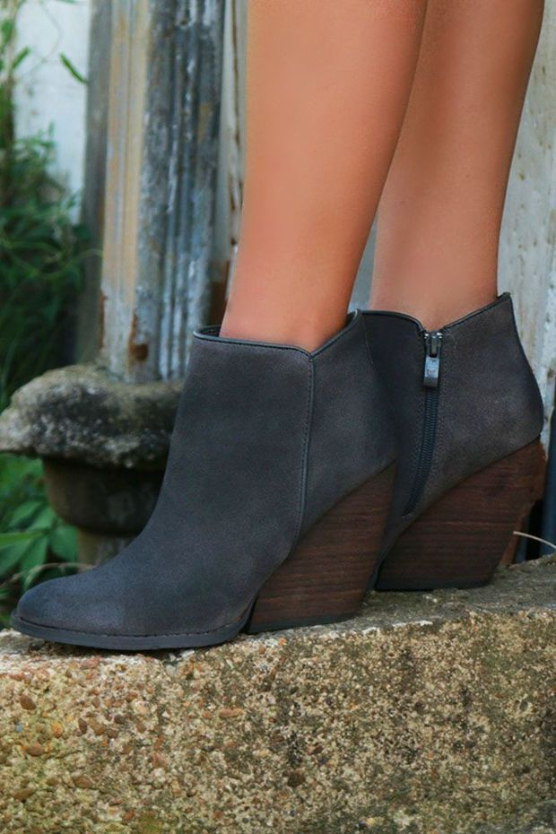 a4f7a0743211 Very Volatile Whitby Abbey Charcoal Suede Wedge Bootie