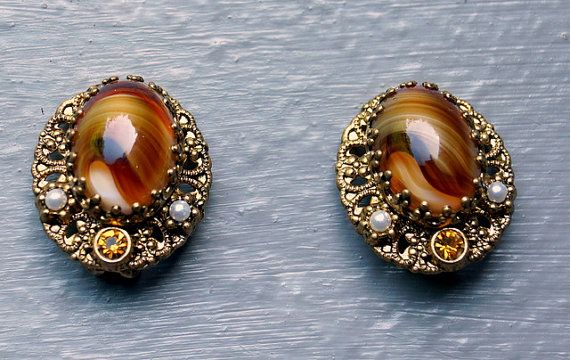 West Germany Earrings Amber Colored Glass Stone By