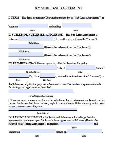 Free Kentucky Sublease Roommate Agreement Form Pdf Template