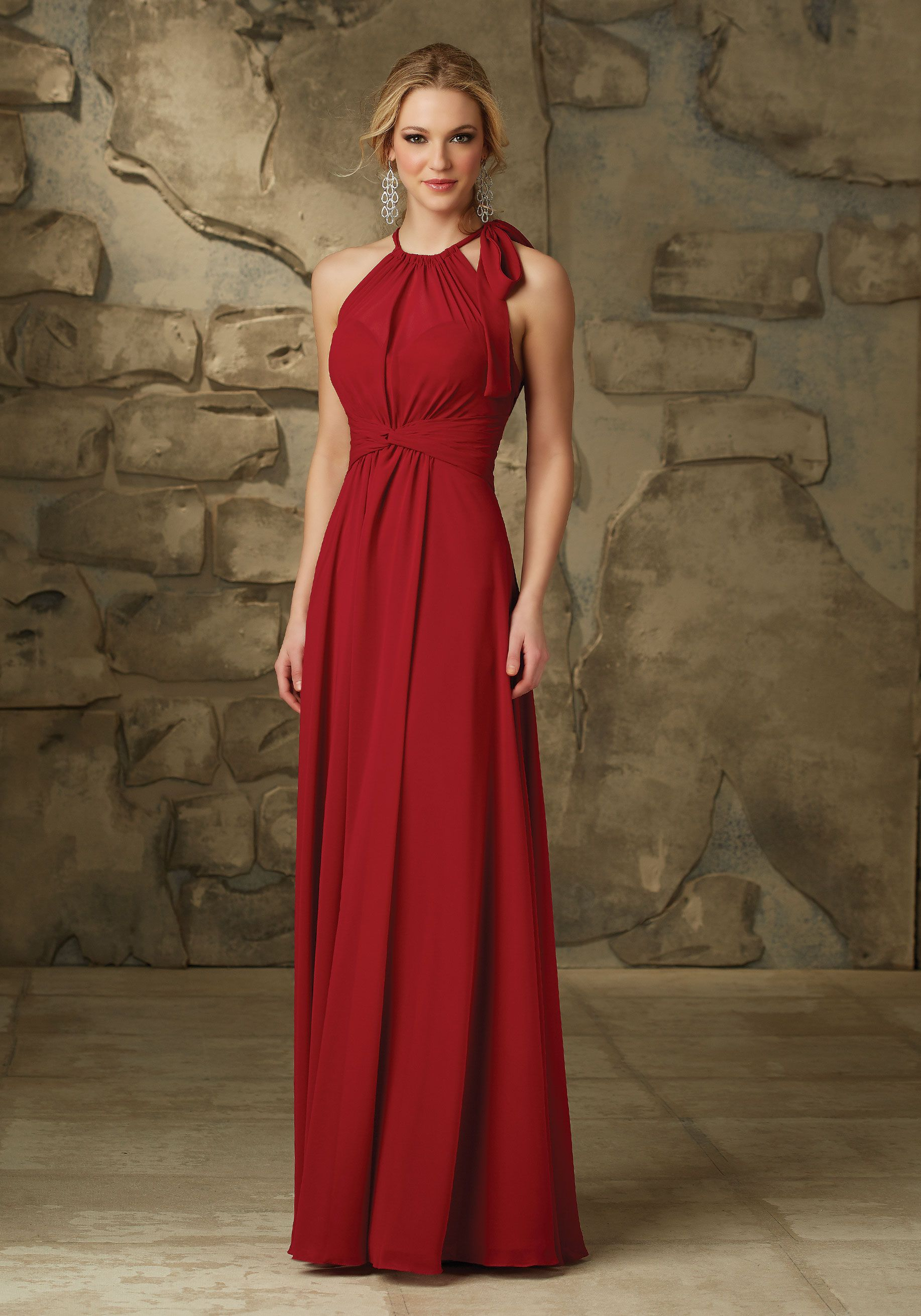 d7866b1da0a8 Luxe Chiffon Bridesmaid Dress with Open Slit in the Back Designed by  Madeline Gardner. Colors available: all Luxe Chiffon Colors