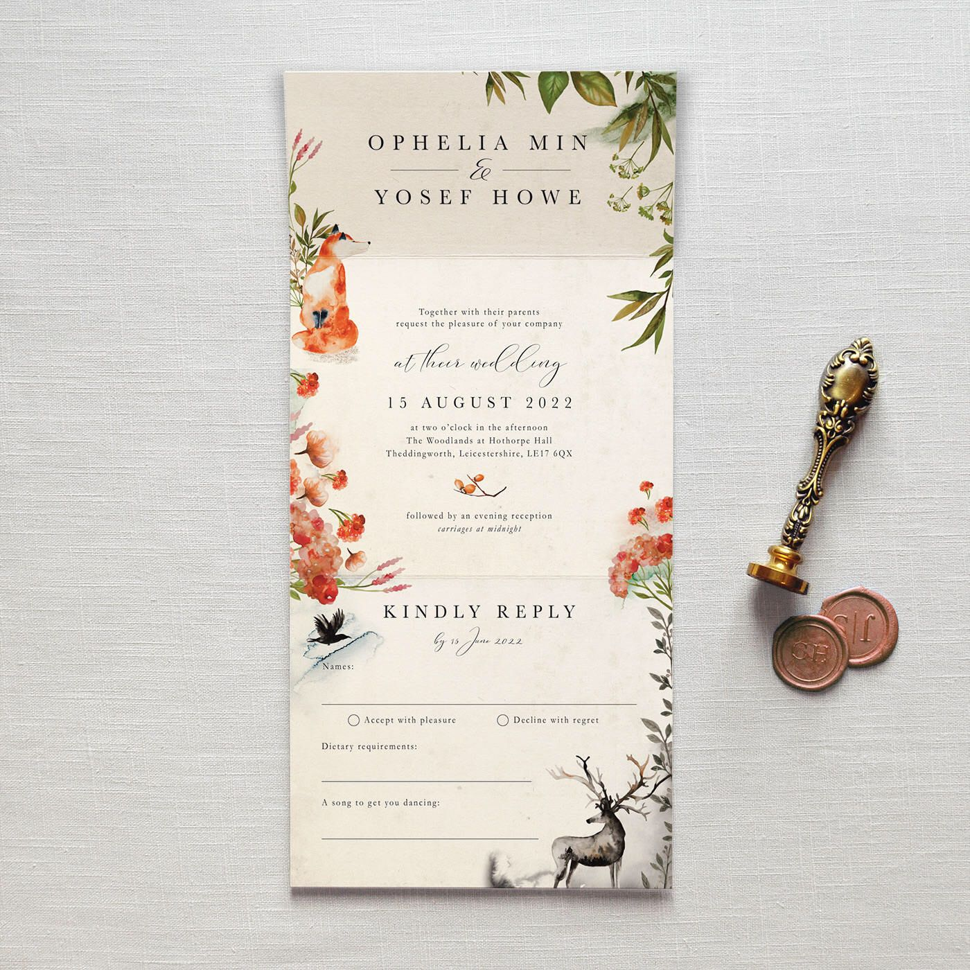 Once Upon A Time - All-in-one wedding invitation. No envelope needed ...