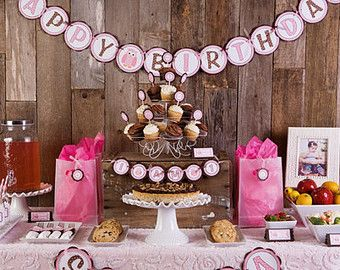 Pink Owl Theme HAPPY BIRTHDAY Banner